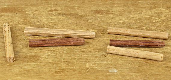 shop-made dowel pegs