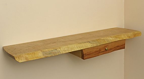 live edge wall shelf