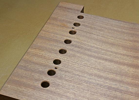 dowel holes on side grain
